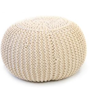 Puff redondo beige trenzado algodón