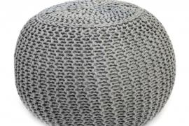Puff redondo gris trenzado algodon
