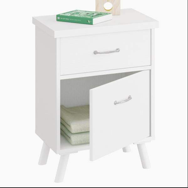 mesita con puerta y 1 cajón acabado blanco atlas