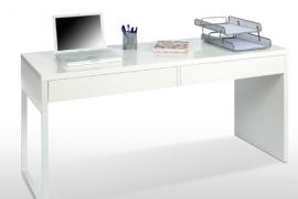 Mesa de escritorio Touch con dos cajones frontales y para metálica reversile. Acabado blanco artik