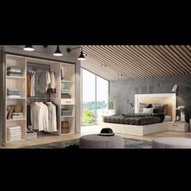Dormitorio Sax 014 acabado Okume combinado Bambú