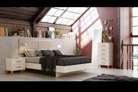 Dormitorio Sax 018 acabado Okume con cabezal tapizado