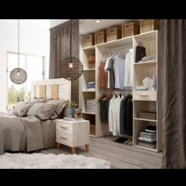 Dormitorio sax 019 acabado okume combinado Bambú de Muebles Azor