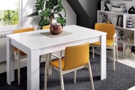 Mesa de comedor Dine extensible blanco brillo
