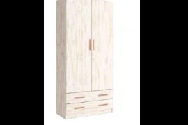 armario 2 puertas con cajones sax acabado okume