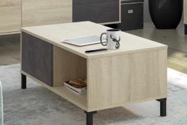 mesa centro andy con patas y 2 huecos de almacenamiento acabado roble canadian y combinado oxido