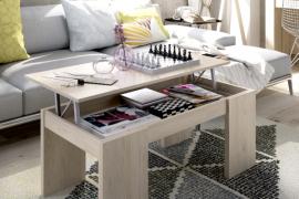 Mesa centro elevable Code acabado natural. Detalle mesa abierta