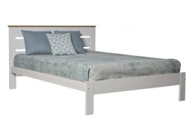 cama con somier Jade acabado blanco combinado color roble