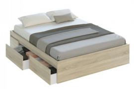 cama con cajones andy para somier de 150 x 190 acabado roble canadian