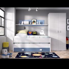 Cama compacto Ocean con estanteria y armario