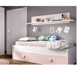 Cama nido Noa con estante acabado artic combinado rosa pastel