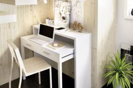 consola escritorio extensible seven acabado blanco brillo extensión abierta