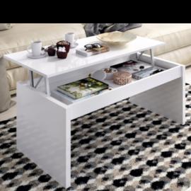 mesa centro elevable side acabado blanco brillo abierta