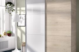 Armario Slide 2 puertas correderas 150 cms acabado natural combinado blanco brillo