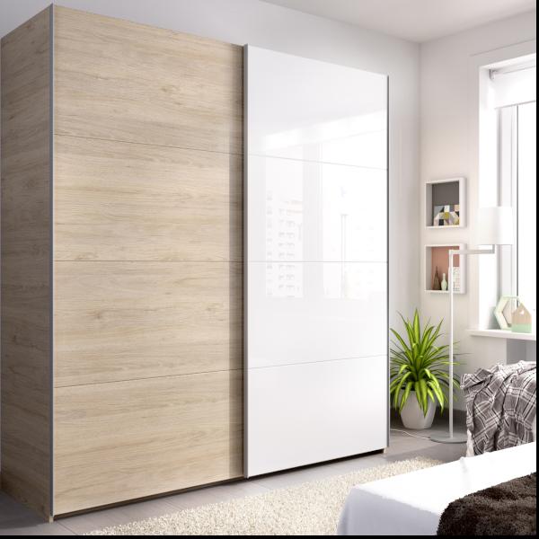 armario slide 2 puertas correderas 180 cms acabado natutral combinado con una puerta blanco brillo.