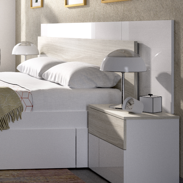 Dormitorio Alice blanco brillo combinado gris