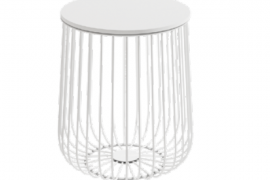 Mesa centro Indico blanco-blanco de estructura metálica y 35 cm de diámetro