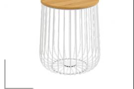 Mesa centro Indico blanco-madera de estructura metálica y 35 cm de diámetro
