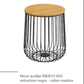 Mesa centro Indico negro-madera de estructura metálica y 35 cm de diámetro