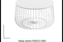 Mesa centro Indico blanca redonda con estructura metálica.