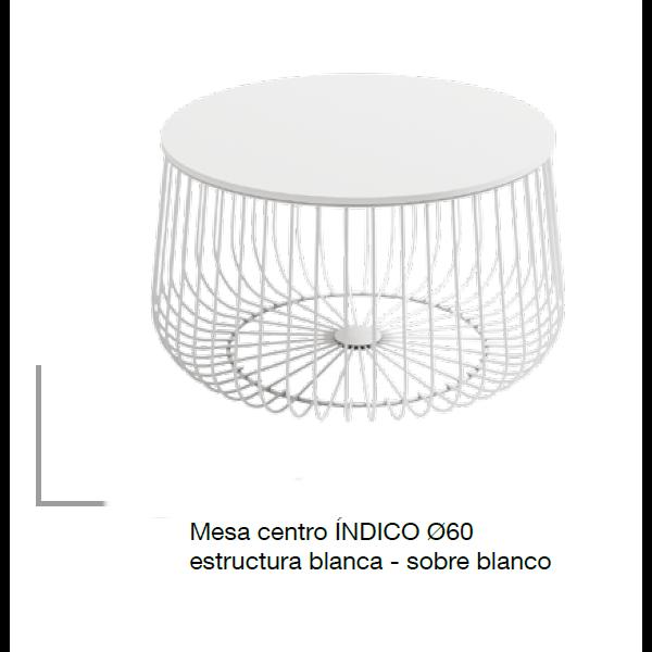 Mesa Centro Indico Blanca Redonda Estructura Metálica