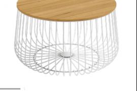 Mesa centro Indico blanca con tapa acabado madera, redonda con estructura metálica.