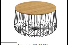 Mesa centro Indico negra con tapa acabado madera, redonda con estructura metálica.