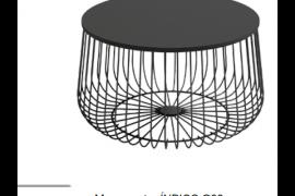 Mesa centro Indico negra redonda con estructura metálica.