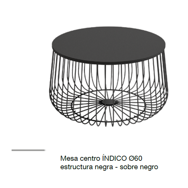 Mesa Centro Indico Negro Redonda Estructura Metálica