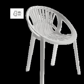 Silla Ibiza acabado blanco, de polipropileno, para uso interior y exterior. Silla apilable