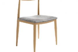 Silla Tallin de estructura metálica simil madera. Tapizado gris