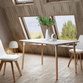 mesa de comedor con tapa blanca ambiente