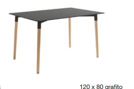 Mesa de comedor tapa grafito 120x80
