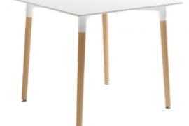 Mesa de comedor cuadrada tapa blanca 80x80cm