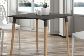 Mesa de comedor cuadrada tapa grafito de 80x80 cm