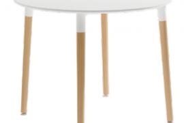 Mesa de comedor redonda con tapa blanca de 90cm Ø