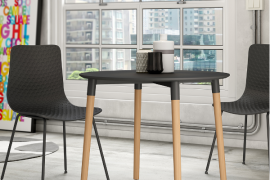 Mesa de comedor redonda tapa grafito de 90cm Ø ambiente