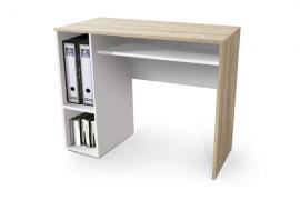 Mesa estudio con bandeja extraible acabado melamina color cambrian combinado con el color blanco