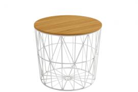Mesa auxiliar atlántico de 48 cm de diametro y con estructura metálica color blanco y sobre madera