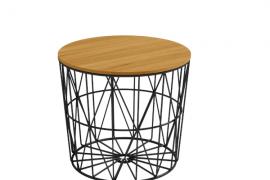 Mesa auxiliar atlántico de 48 cm de diametro y con estructura metálica color negro y sobre madera