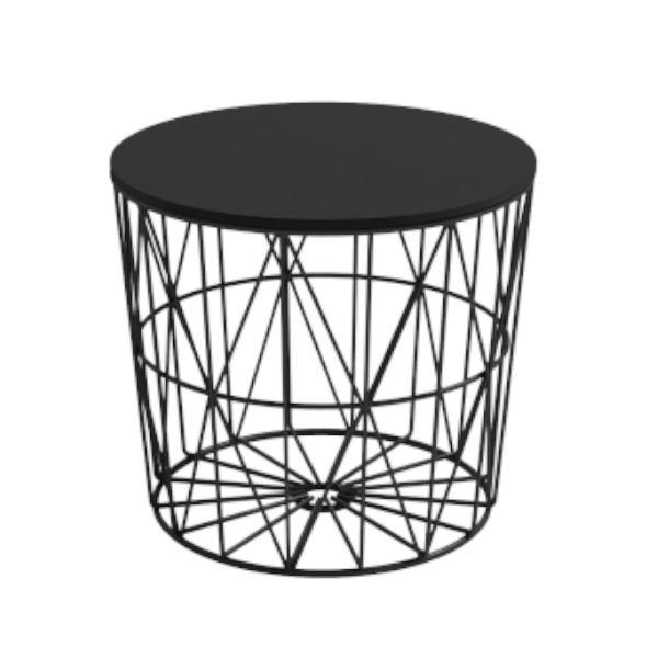 Mesa auxiliar atlántic de estructura metálica acabado en color negro con sobre tablero negro