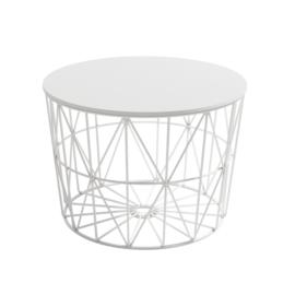 Mesa centro atlántico de 60 cm de diámetro con estructura metálica blanca y sobre tablero acabado en blanco