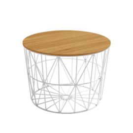 Mesa centro atlántico de 60 cm de diámetro con estructura metálica blanca y sobre tablero acabado en madera