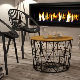 Mesa centro atlántico acabado estructura negra combinando el sobre tablero en acabado madera