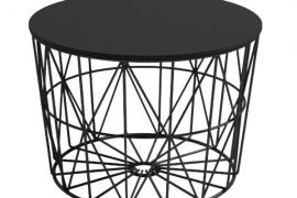 Mesa centro atlántico de 60 cm de diámetro con estructura metálica negra y sobre tablero acabado en negro