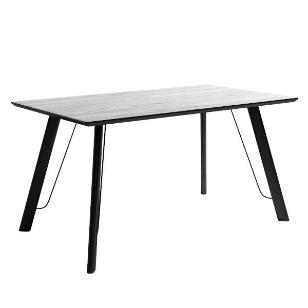Mesa comedor artic modelo caspio de estructura metálica negra y sobre biselado.