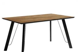 Mesa comedor mango modelo caspio de estructura metálica negra y sobre biselado