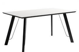 Mesa comedor soul blanco modelo caspio de estructura metálica negra y sobre biselado
