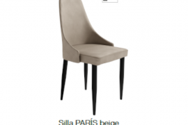 Silla tapizada Paris beige con patas metalicas color negro