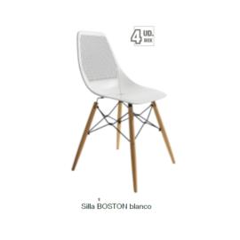 Silla Boston blanco con patas de madera